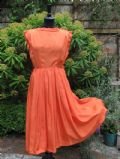 1950's Vibrant coral Shantung silk vintage dress **SOLD** es